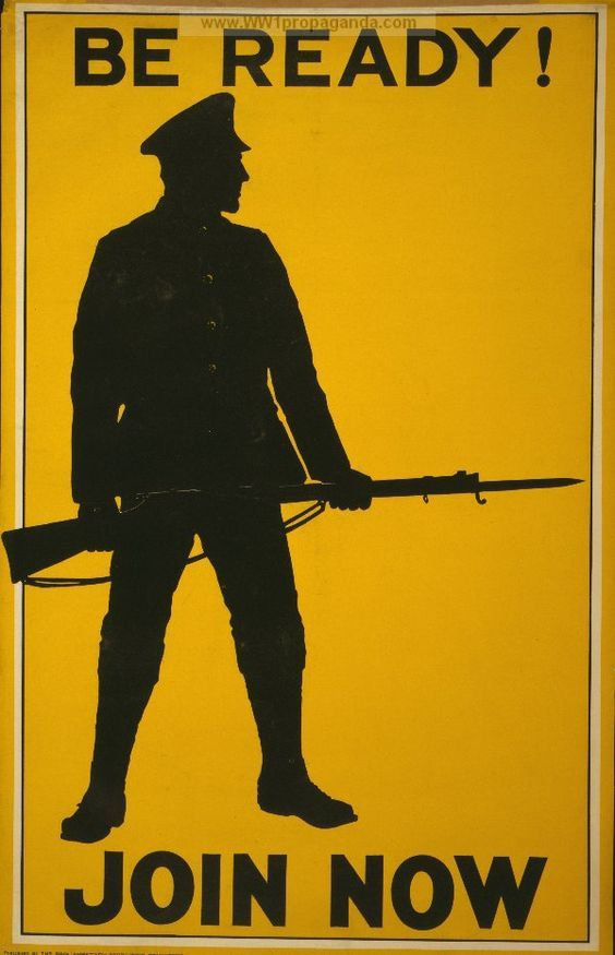 Be ready! Join now. LOC Summary: Poster showing, in silhouette, a soldier bearing a rifle with bayonet | British WW1 Propaganda Poster:
