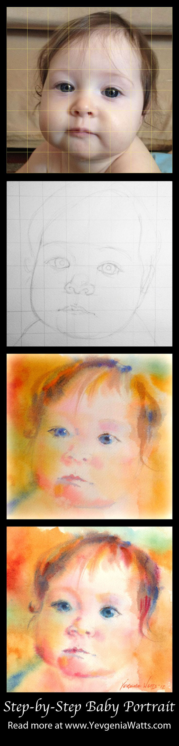 Step-by-step baby portrait painting. how to tutorial