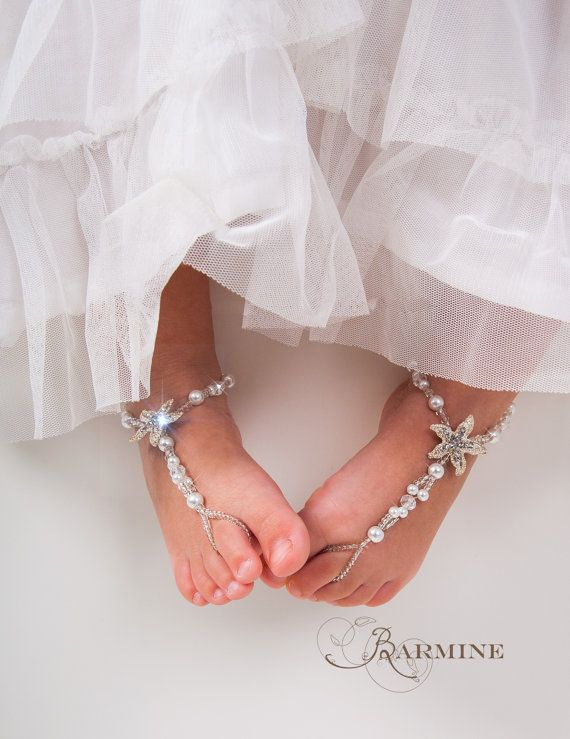 Flower girl barefoot sandals -Baby Starfish barefoot sandal -Girl Beach sandal -Baby Shower Gift- Baptism shoes- Beach wedding -Foot thongs
