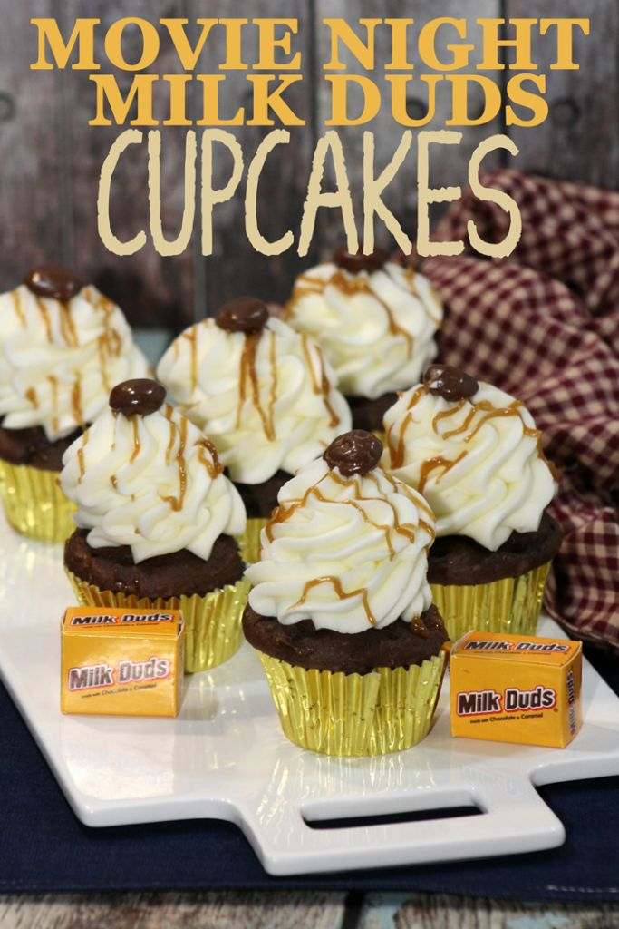 Milk Dud Cupcake recipe for the movies and candy ideas