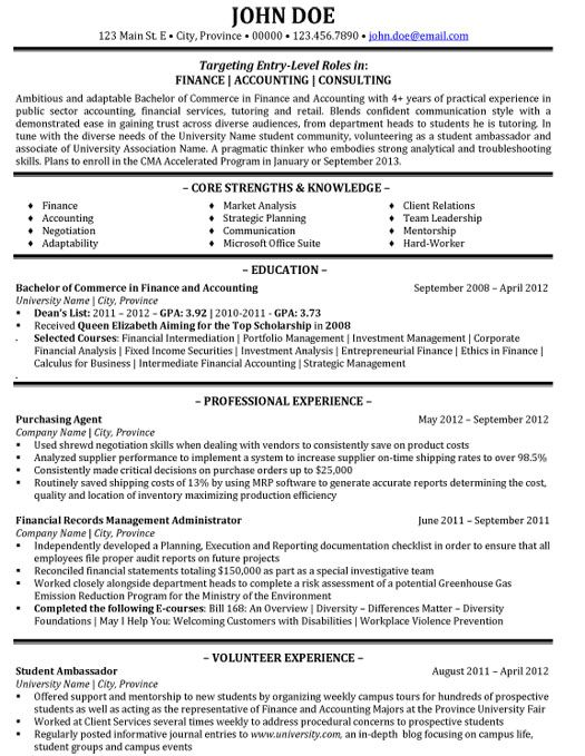 36 best Best Finance Resume Templates \ Samples images on - sample resume accounting