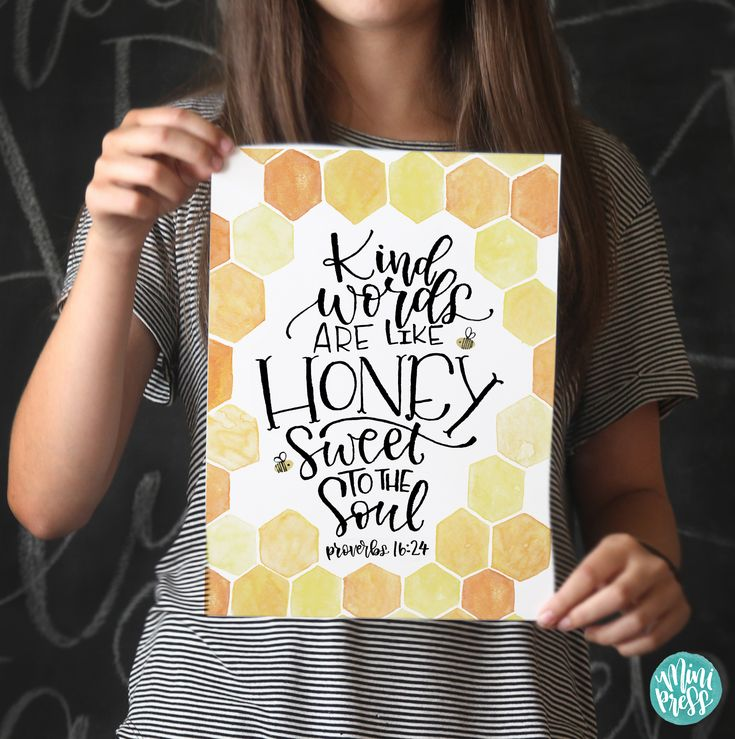 Proverbs 16:24 - Kind words are like honey, sweet to the soul - Bible Verse Scripture Art Print on Etsy by MiniPress