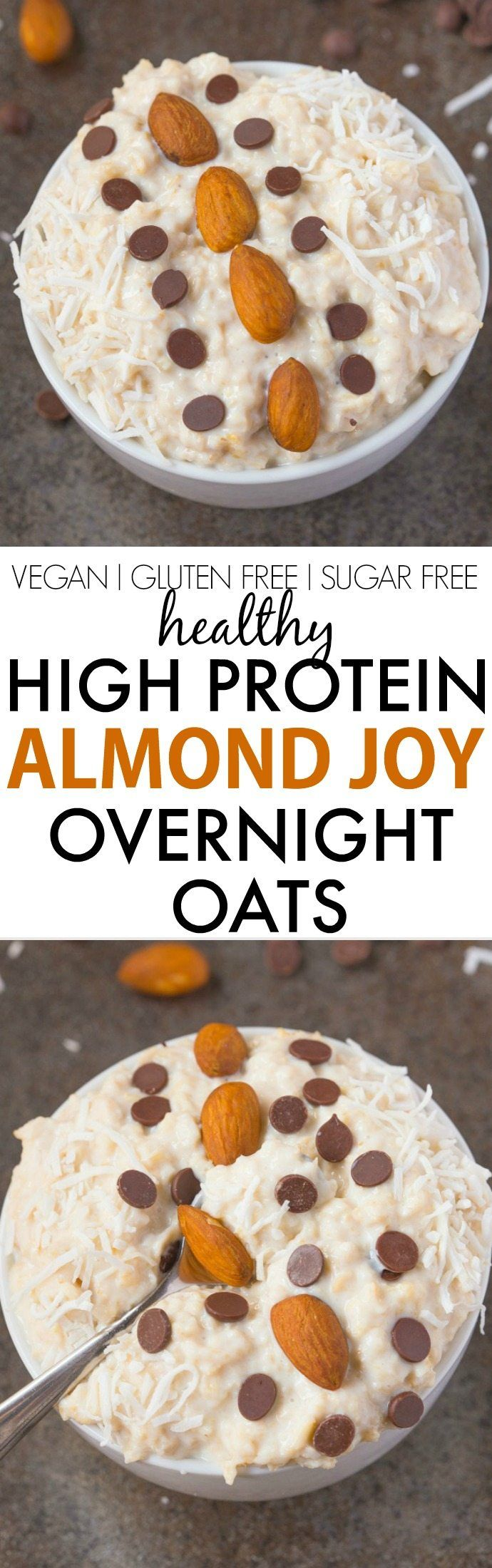 Healthy High Protein Almond Joy Overnight Oats- Easy, satisfying and tasting like dessert for breakfast, this healthy candy bar version has NO sugar or dairy! {vegan, gluten free, sugar free recipe}- thebigmansworld.com