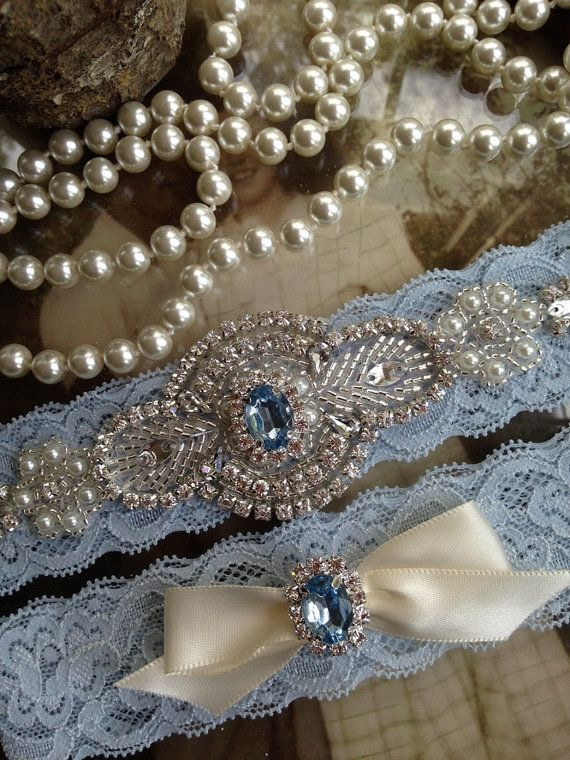 Wedding Garter Bridal Blue Belt Something Rhinestone Vintage Pearl Ivory Off White Toss