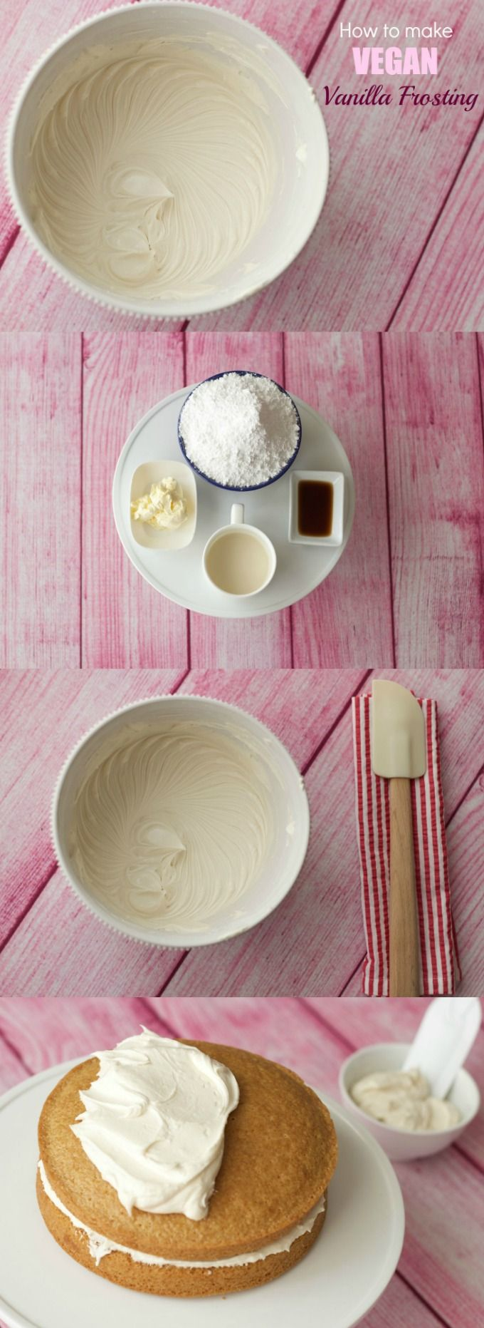 Smooth and creamy vegan vanilla frosting recipe - ideal for cakes, cupcakes and cookies! #vegan
