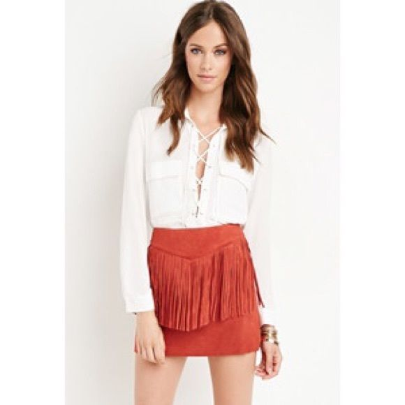 Forever 21 Suede Fringe Skirt Brand new with tags! Forever 21 Skirts Mini