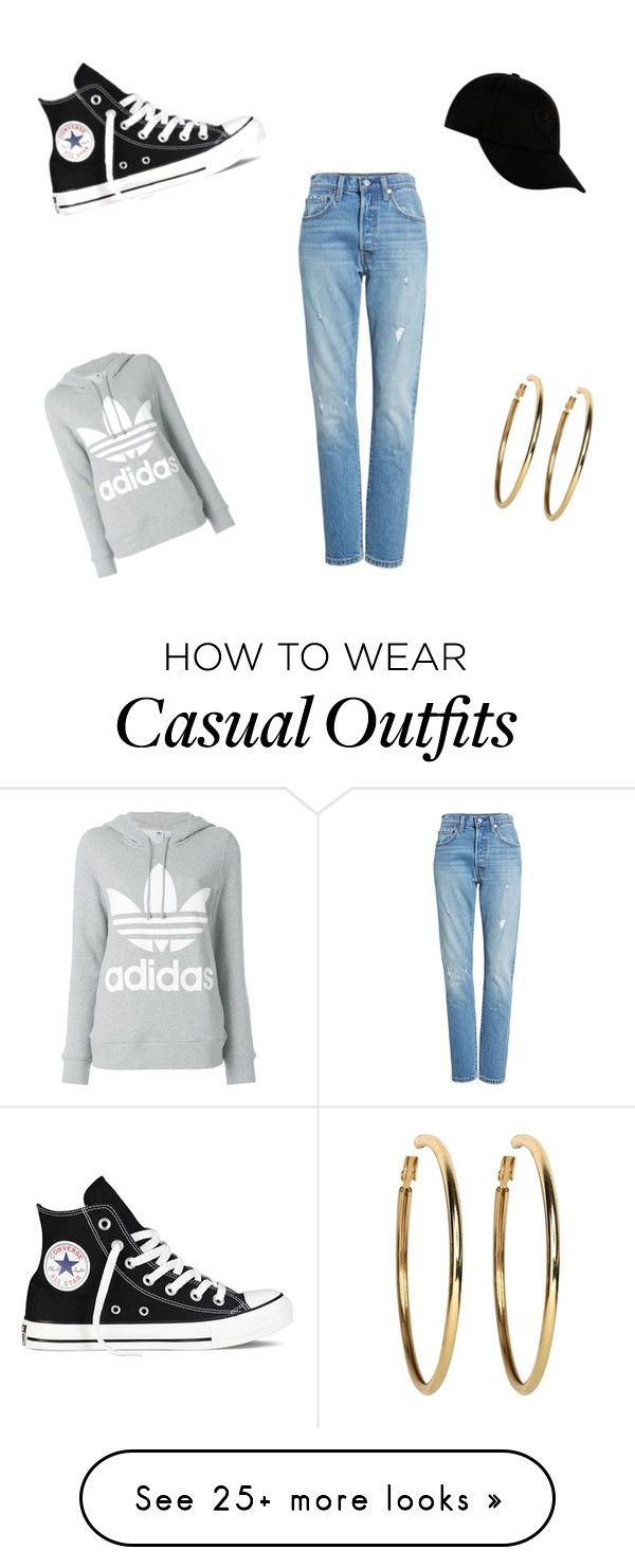 """casual"" by morgansymonnee on Polyvore featuring Levi's, Converse, STONE ISLAND, adidas and Kenneth Jay Lane"