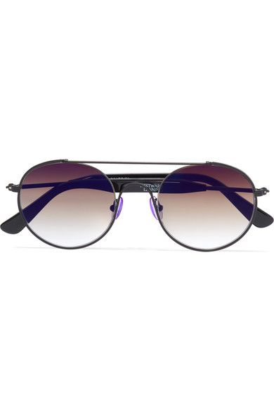 Westward Leaning - Cellophane Disco Round-frame Metal Sunglasses - Black - one size