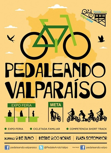 Evento ciclístico PedaleANDO Valparaíso  domingo 9 de junio en Plaza Sotomayor.