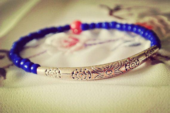 Chinese Oriental style blue beaded bracelet with antique flowers tube pendant,bangle cuff bracelet, vintage bracelet