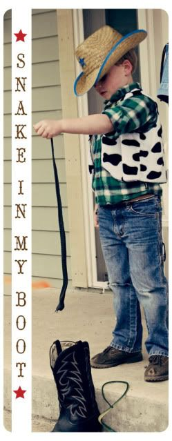 There's a Snake In My Boot    Another fun game the kids will love.  You will need 2 adult cowboy boots and at least 20 vinyl snakes (Oriental Trading). Two children stand on a bale of hay with a cowboy boot in front of them. Give each child 10 snakes and see which one can get more into the boot.