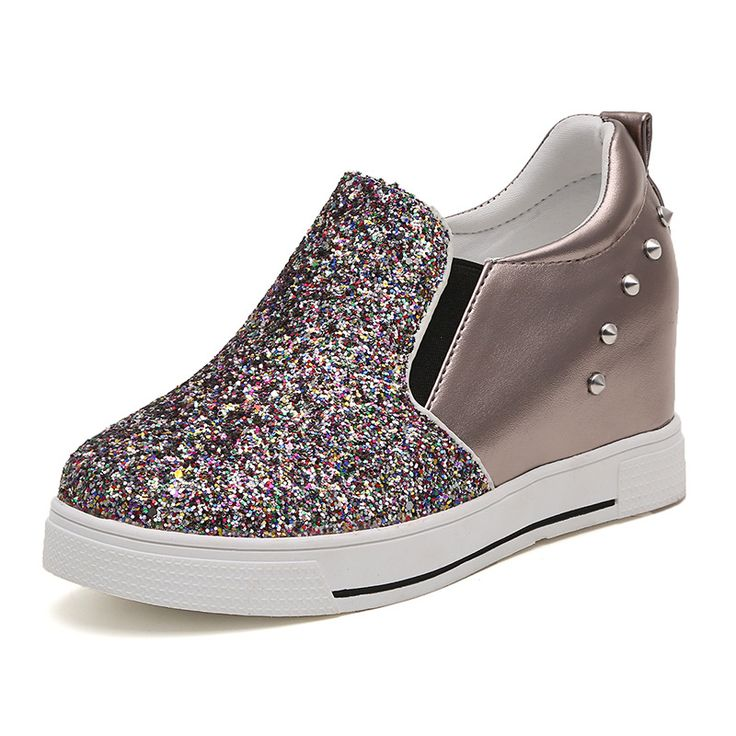 Fashion 2017 Women Flats Slip on Glitter Spke Women Creepers Casual Ladies Oxfords Shoes for Women Height Increasing 4cm