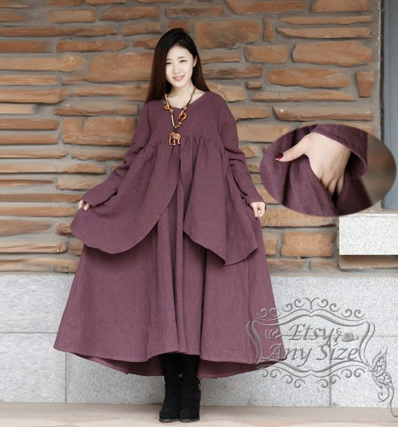 Anysize close to nature simple casual loose hem linen&cotton