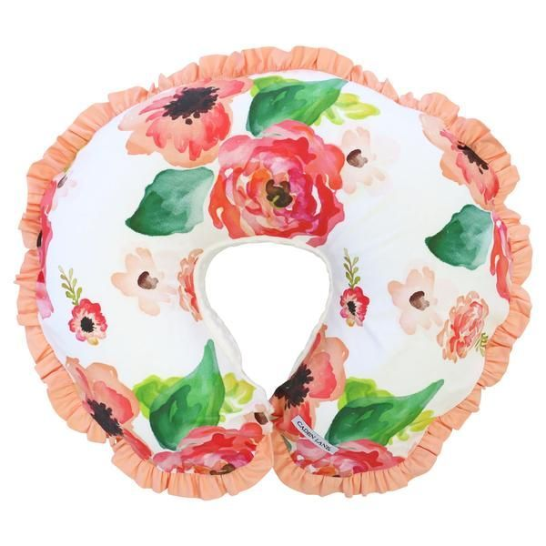 This nursing pillow cover comes in a fun and modern coral & pink watercolor floral print with a super soft minky back and a coordinating coral ruffle trim. Our Boho Chic Floral Nursing Pillow Cover is