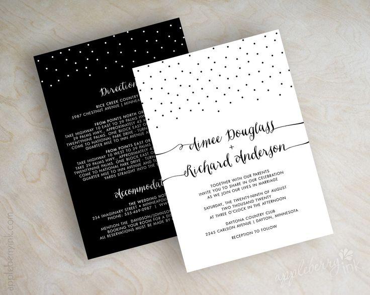 Black and white polka dot modern wedding invitations, wedding invites www.appleberryink.com