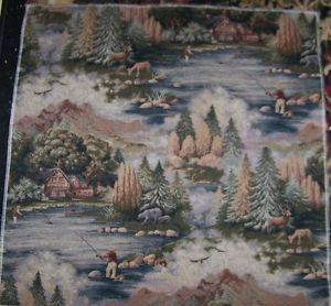 Deer Cabin Fishing Autumn Country Rustic Tapestry Fabric Pillow Top 26 x 26   eBay