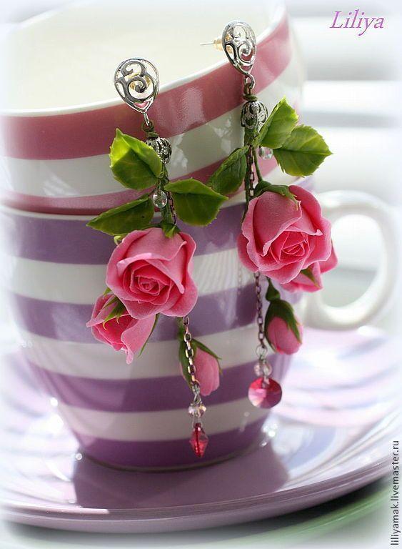 """Серьги с бутонами роз """"Соблазн"""" - розовый,серьги с розами,розы ручной работы"""