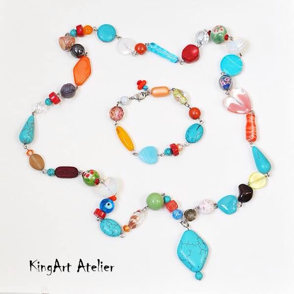 Colorful natural stone, glass bead set by KingArt Atelier