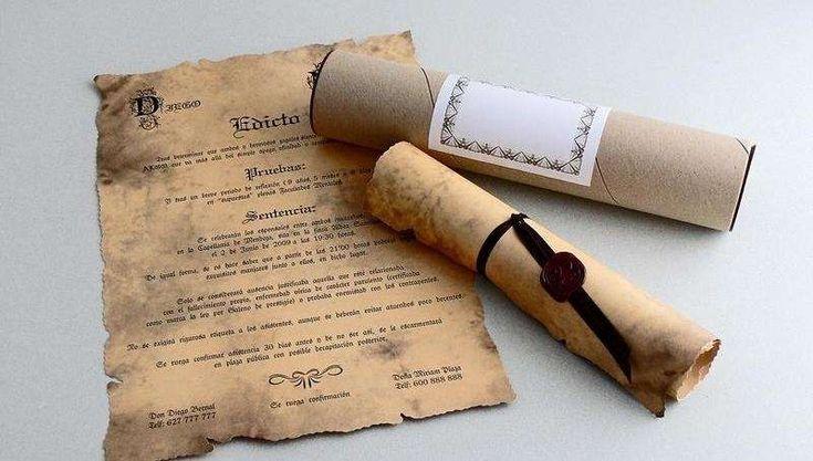 Invitaciones de boda caseras: fotos - Invitación de boda pergamino antiguo