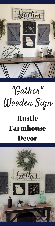 "Rustic Wooden Sign ""Gather"" Farmhouse Decor.  Dining room decor.  Fixer Upper Style. #ad #homedecor #homedecorideas #homedecoration #wallart #woodsigns #diningroomdecor"