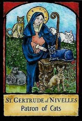 St. Gertrude, patron saint of travelers, gardeners, and cats (and people who love them). My home girl!