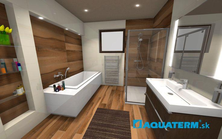 Aquaterm - KÚPEĽNE – 3D návrh kúpeľne - biela elegancia s drevom