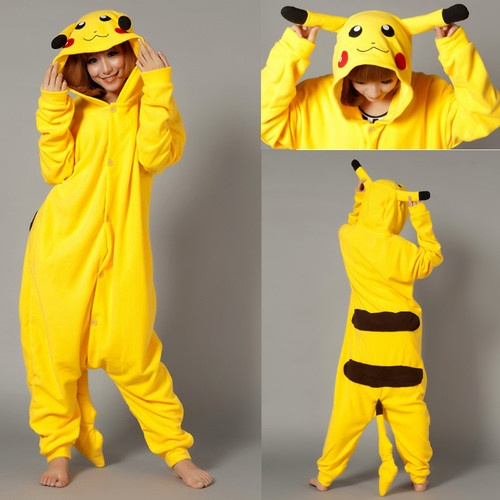 Pikachu Animal Onesie Hoodie Costume Kigurumi Pajamas Coral Fleece Sleepwear - £19.99