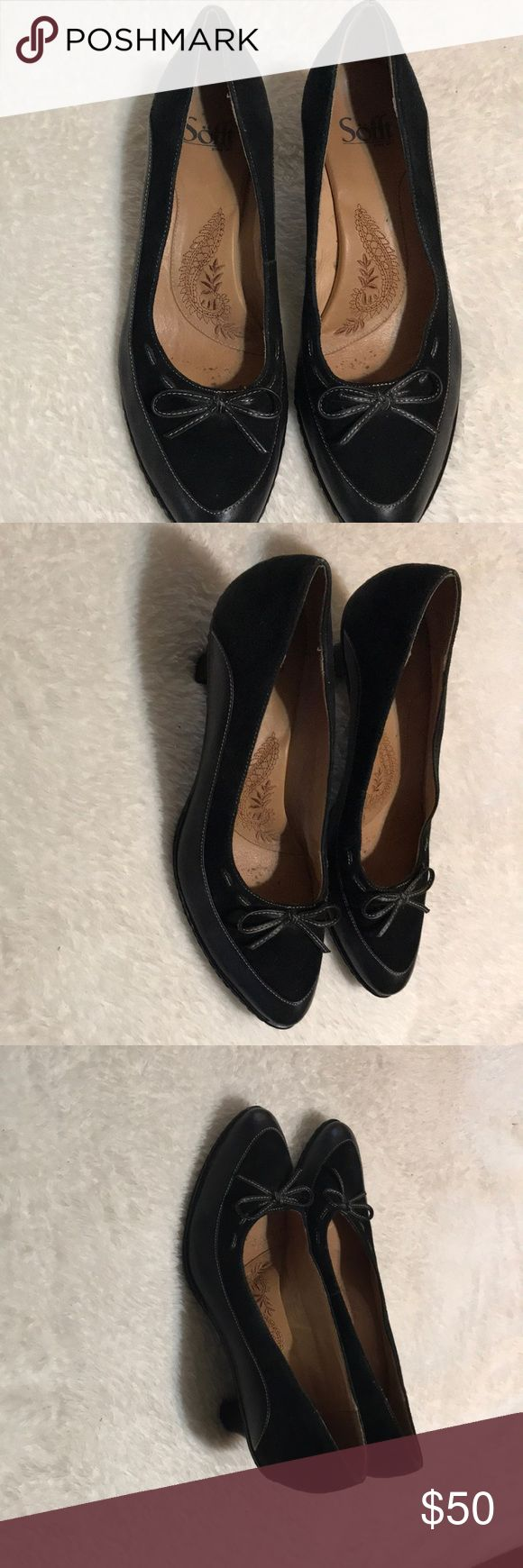 Sofft leather and suede pumps Black leather and suede pumps perfect for office with slacks, dresses, or jeans. Price firm Sofft Shoes Heels