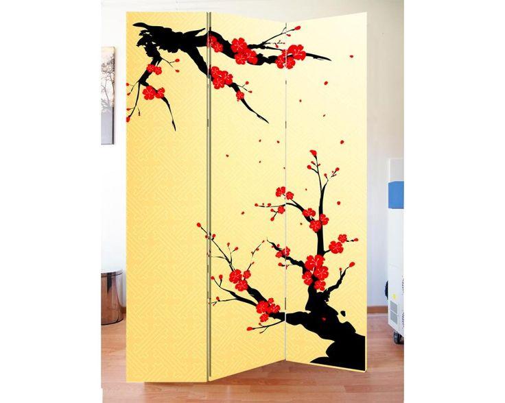 Chinese blossom,πτυσσόμενο διαχωριστικό ( Παραβάν,ξύλινο ή καμβάς)