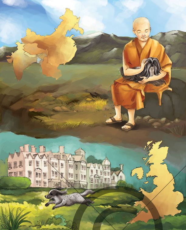 A monk sitting in mountains with a dog in mountains. The background has black mountains and a map showing the area in Tibet. The lower part of the ‪#‎illustration‬ has a dog jumping along with the building in the background. The building also has bushes and trees in the background. The colors used are soft and soothing to the eyes. The #illustration is done using a special technique of digital coloring.