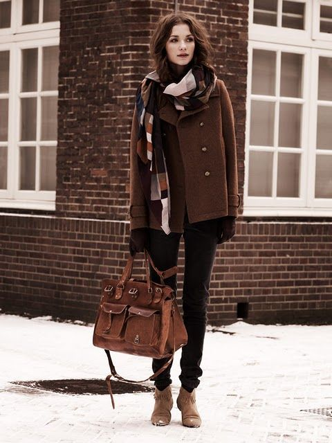 winter: Winter Style, Bag, Winter Outfits, Brown, Winter Fashion, Scarf, Fall Winter, Coat