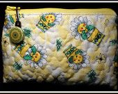 SOLD SMALL Zippered Cosmetic Bag - Fabric quilted by me and discounted by 10% now until April 30th, 2014
