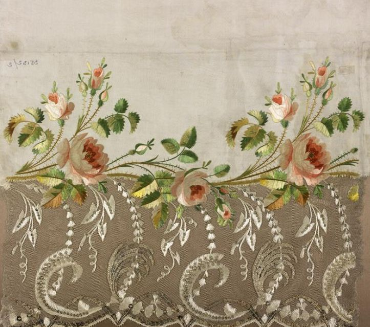 Jean-François Bony, embroidery sample for a dress hem, silk twill embroidered in crewel; satin, split stitch, 1804-1815