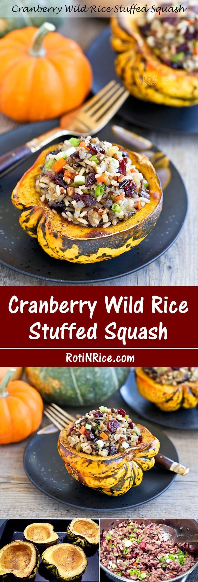 This fall favorite Cranberry Wild Rice Stuffed Squash is festive and flavorful. It is delicious served as a main course or side dish.   Food to gladden the heart at RotiNRice.com