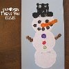 """Have your child make a Snowman Thank You Card to send out after Christmas has passed. Grab some materials from around the house such as felt and old thread bobbins to create homemade stamps. This kid-made card is a lesson in craftiness for children and an adorable way to say """"thank you"""" to adults."""