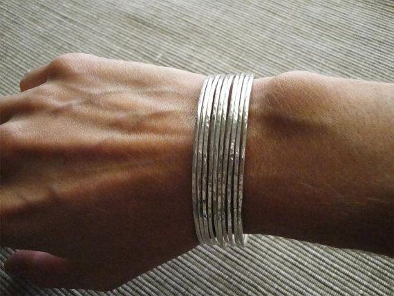hammered sterling silver bangle bracelets set of 10 by katerinaki1977, $114.53