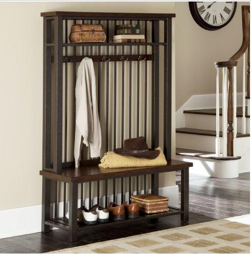 furniture for entryway. Industrial Vintage Hall Tree Coat Rack Stand Wood Metal Bench Storage Entryway Furniture For