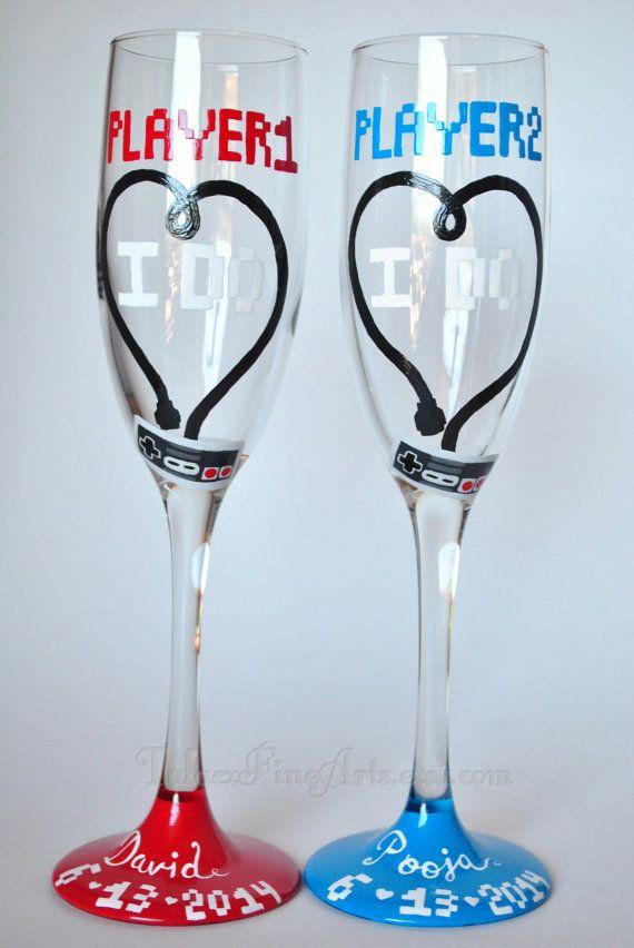 Hand Painted Video Game Wedding Glasses by TulaczFineArts. Geek wedding, nerd wedding, toasting flutes, champagne glasses, champagne flutes, gamer wedding, old school gaming, retro games, nes, SNES, I do, wedding ideas, wedding decor, bridal shower, bride and groom, engaged, true love