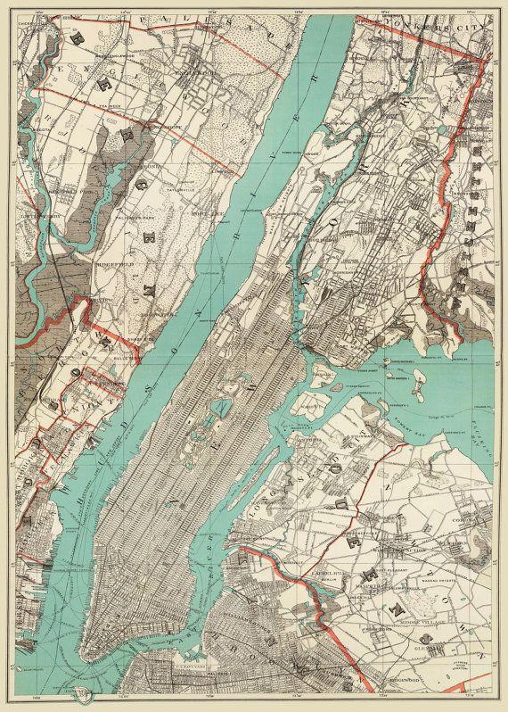 Stadtplan von New York City-Karte 1890 von New York von TheMapShop