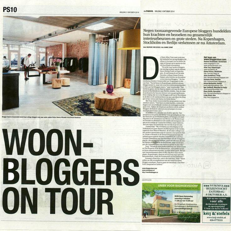 Dutch Newspaper Parool PS covering 'Design Bloggers United' Blogtour Amsterdam | October 2014