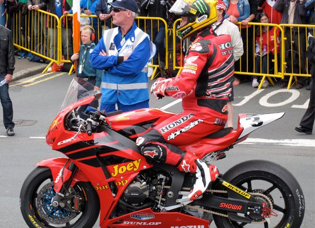 To mark the 30th anniversary of Joey's Dunlop first Isle of Man TT win with Honda, his former team-mate and Honda TT Legends rider John McGuinness will contest today's Superbike race in tribute Dunlop livery. - Isle of Man TT, June 2013
