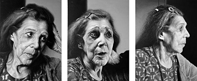 "English artist Andrew Tift ""Kitty"" triptych, acrylic on board 3 x 26cm x 34cm - bp portrait award 2006"