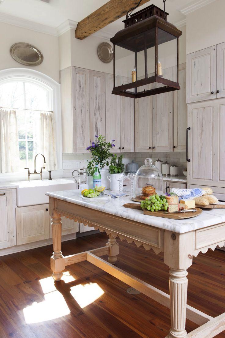 repurposed vintage table as kitchen island
