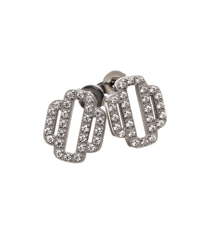 Elvira studs, stainless steel with CZ gemstones