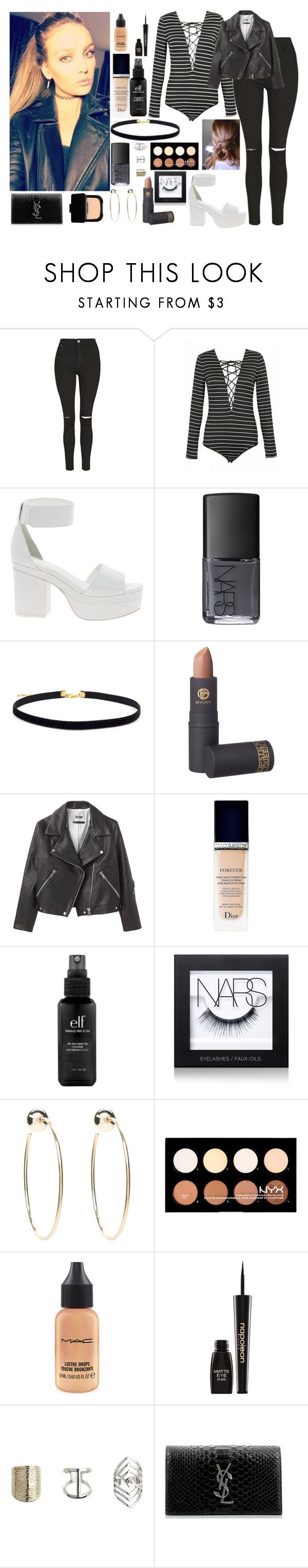 """""""Clubbing with Perrie"""" by kennedey-lynn-freeman ❤ liked on Polyvore featuring Topshop, ASOS, NARS Cosmetics, Lipstick Queen, Acne Studios, Christian Dior, e.l.f., Bebe, NYX and MAC Cosmetics"""