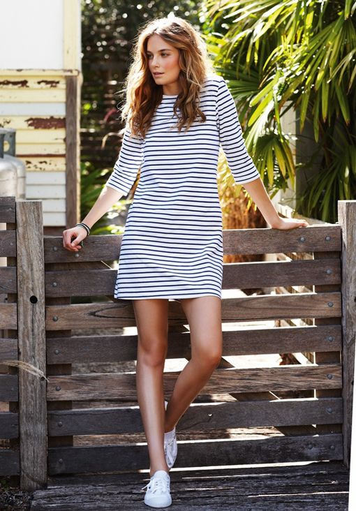 Simple striped dress +sneakers.
