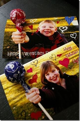 cute & easy idea for DIY Valentine's cards for school classmates...just take a photo of your child with their hand out-stretched and in a fist, photoshop it as you see fit and get some printed. Then cut a slit along the top and bottom of their fist to insert the sucker stick.