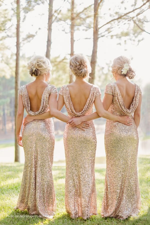 Sparkly and Glittery Gold Bridesmaid Dresses | Archetype Studio Inc