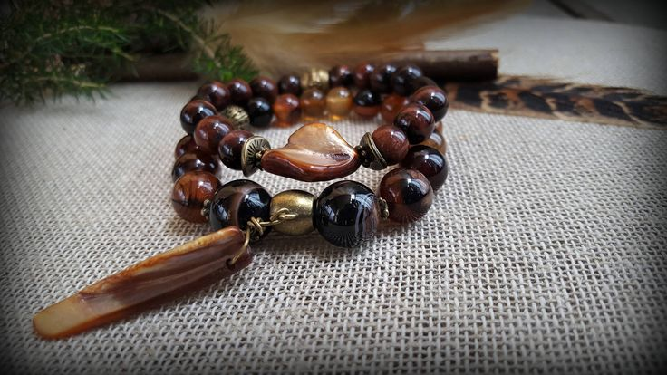 Set of 2 stretch gemstone bracelets. Brown agate and red tiger eye stones with mother of pearl beads. Boho Gypsy style Yoga Beaded Bracelet