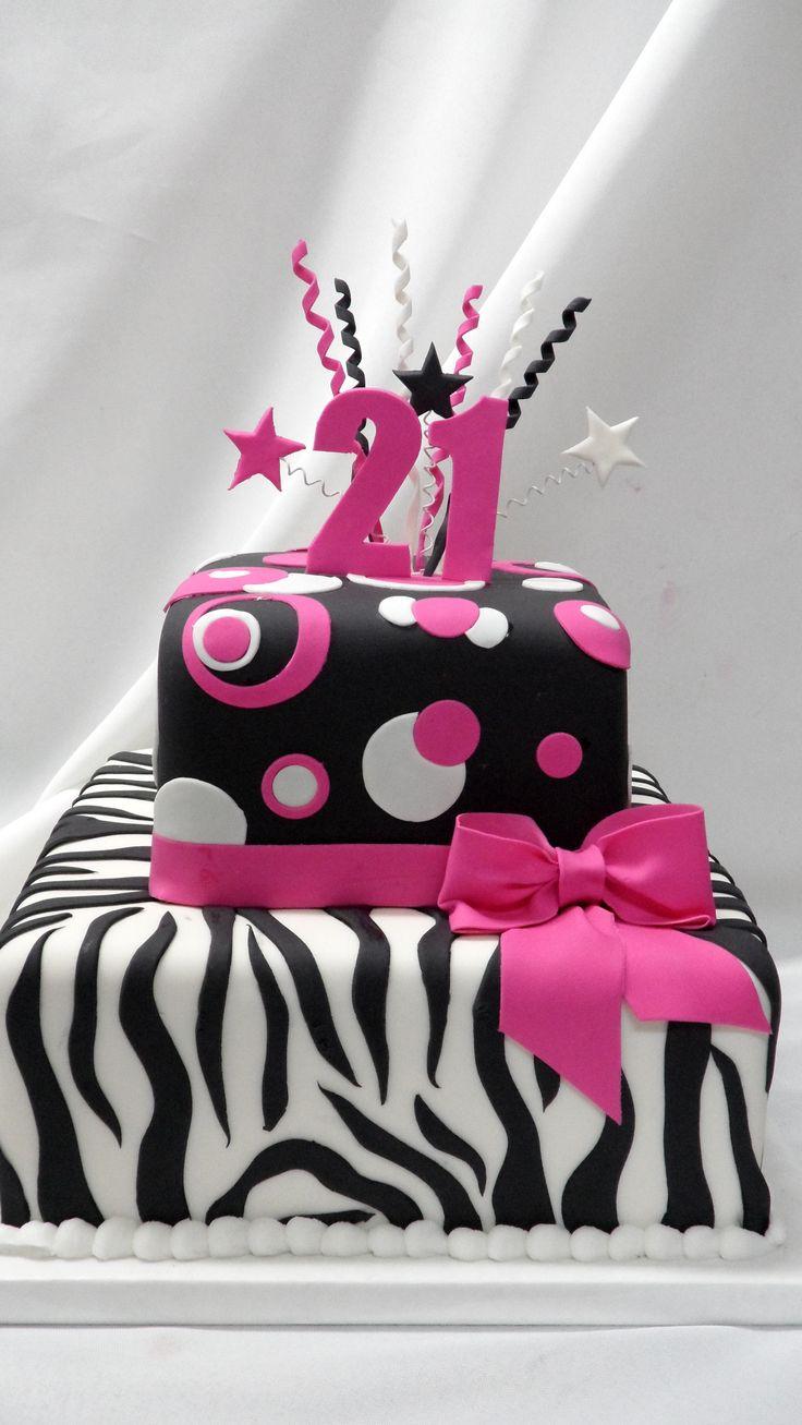 Pink and Black Zebra - All fondant and gumpaste